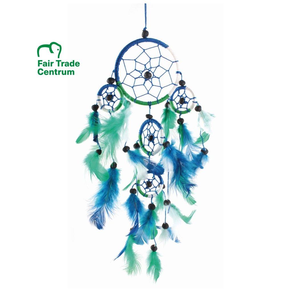 Fair trade lapač snů z Bali, modro zeleno bílý, 33 cm