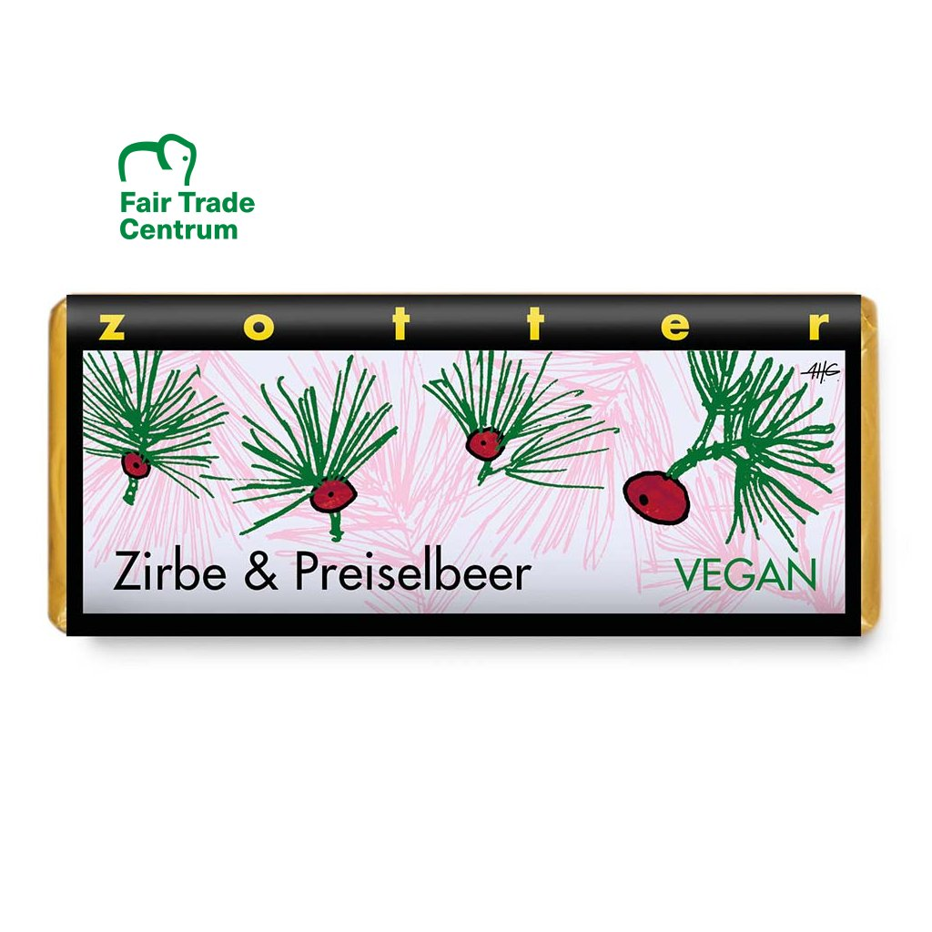 Fair trade bio hořká vegan čokoláda Zotter Borovicová pálenka s brusinkami, 70 g