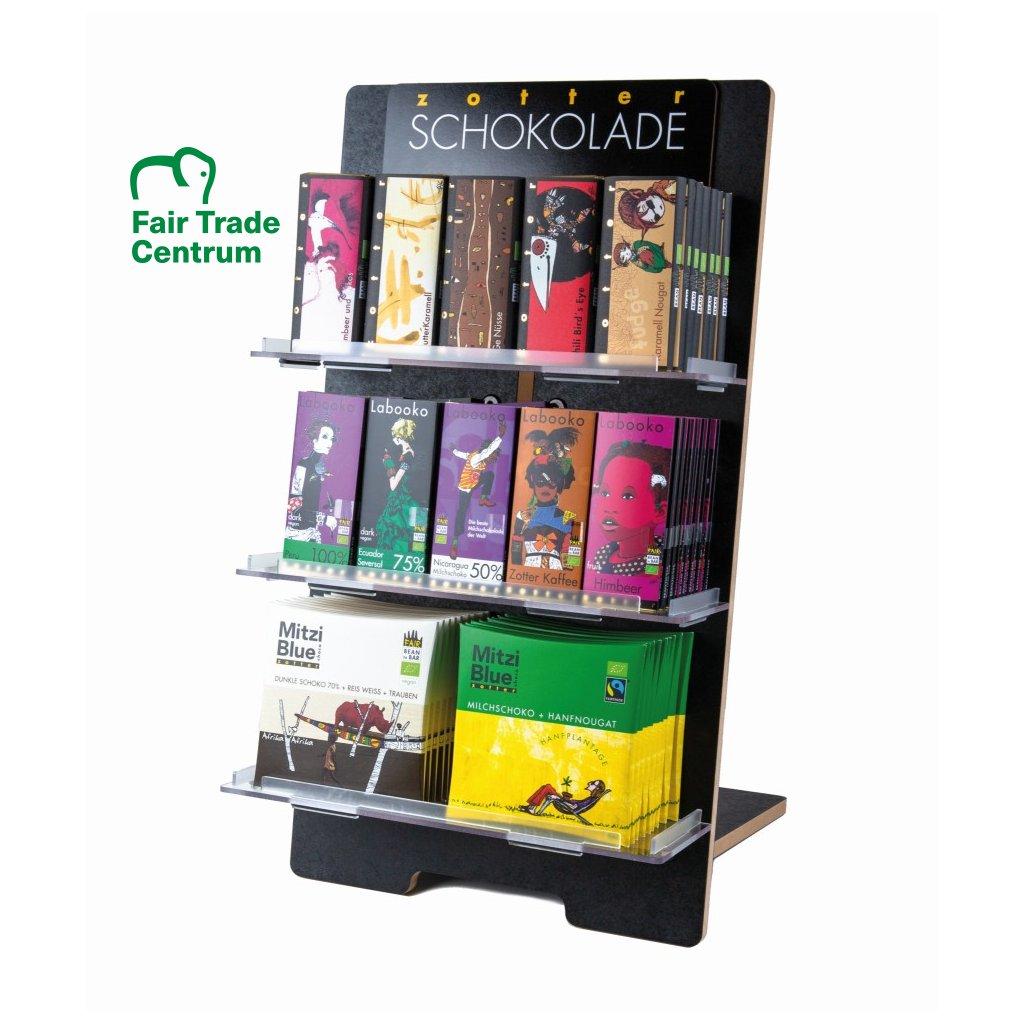 Černý stojan na fair trade bio čokolády Zotter, 15 druhů
