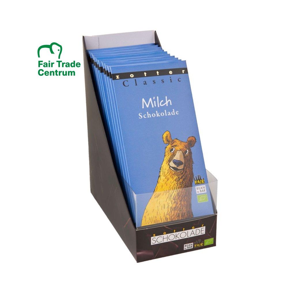 Prodejní displej na fair trade bio klasické čokolády Zotter