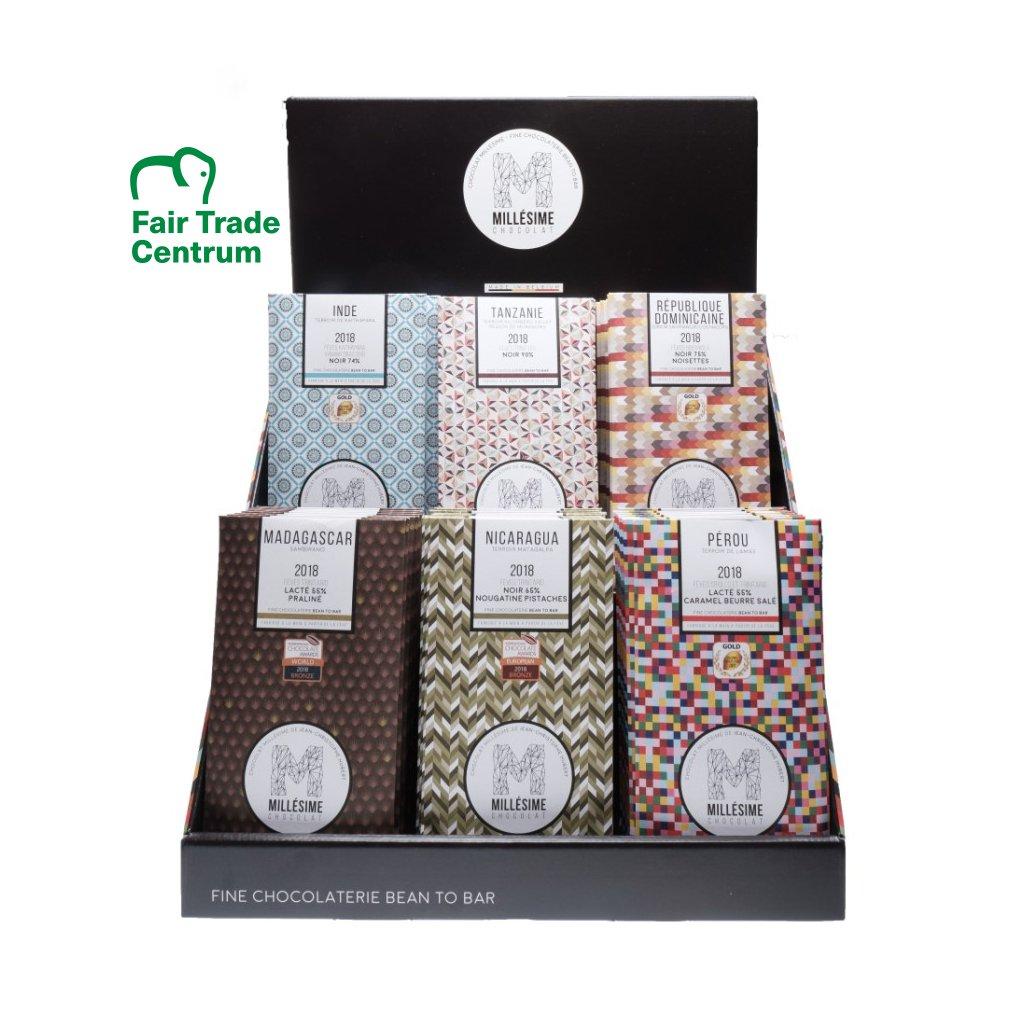 Prodejní display na fair trade bio čokolády Millésime Chocolat