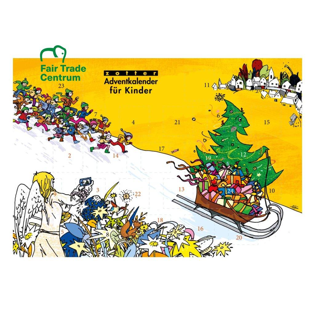 Fair trade bio adventní kalendář Zotter pro děti s čokoládami CD, 240 g