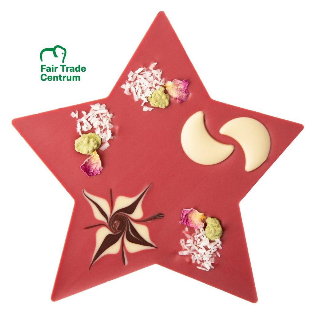 Fair trade bio vánoční hvězda z ovocné čokolády Zotter s pomerančovou pěnou