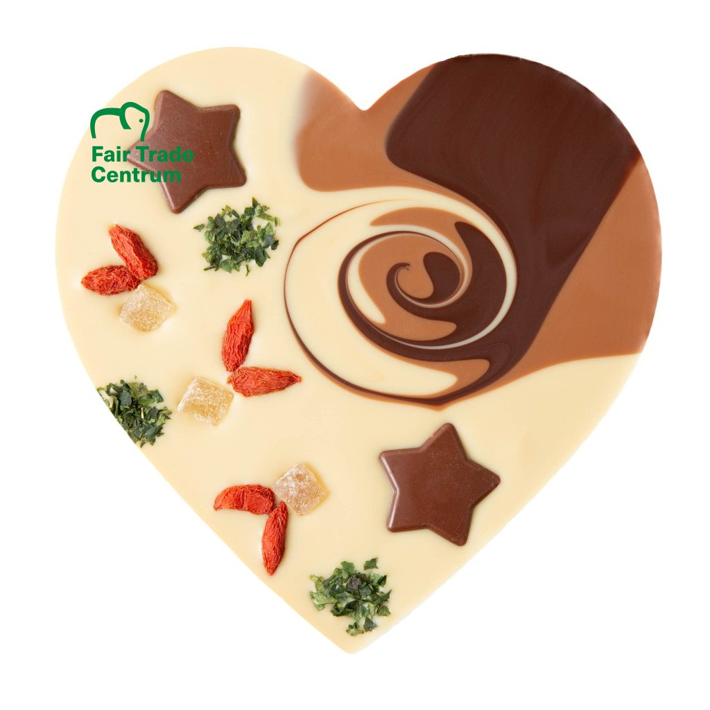 Fair trade bio vánoční srdce z rýžové čokolády Zotter s lískooříškovým krokantem