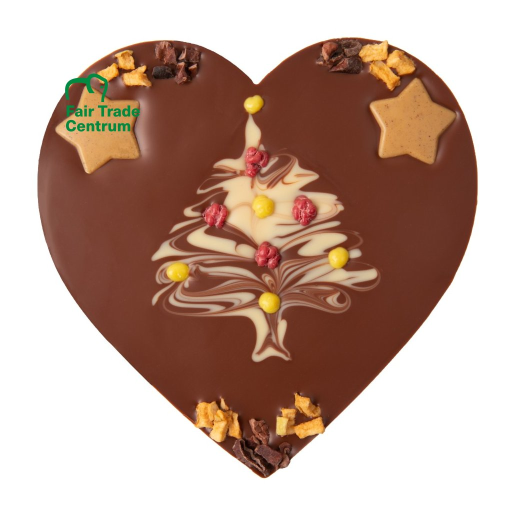 Fair trade bio vánoční srdce z mléčné čokolády Zotter se sladkým stromečkem