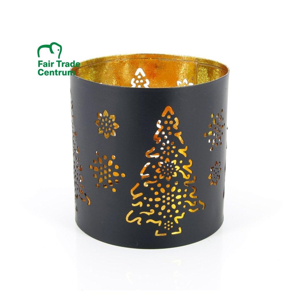 Fair trade svícen Vánoční stromek z Indie, 10 cm