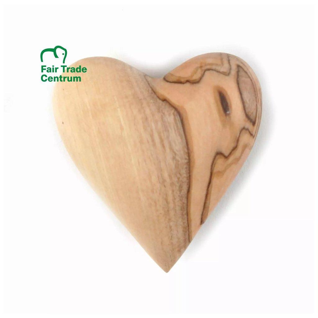Fair trade srdce z olivového dřeva z Palestiny