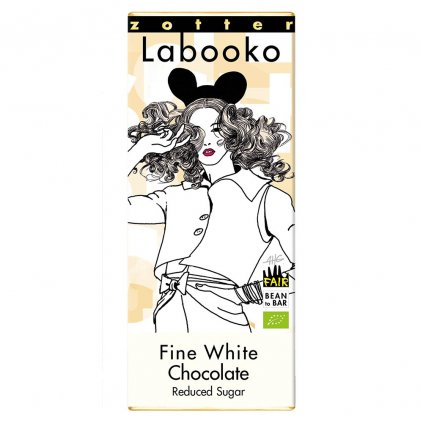 Fair trade bio bíla jemná čokoláda Zotter s minimem cukru