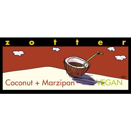 Fair Trade bio hořká čokoláda Zotter pro vegany Kokos marcipán