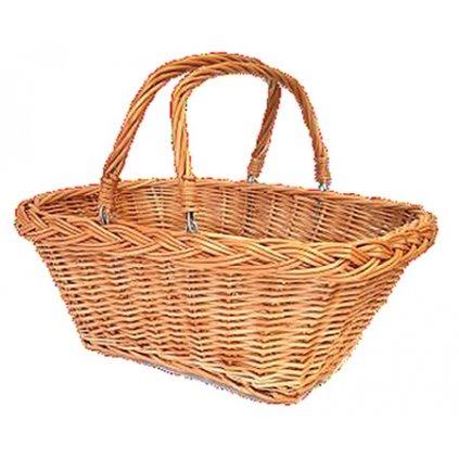 Fair Trade vrbový proutěný nákupní košík, tmavší