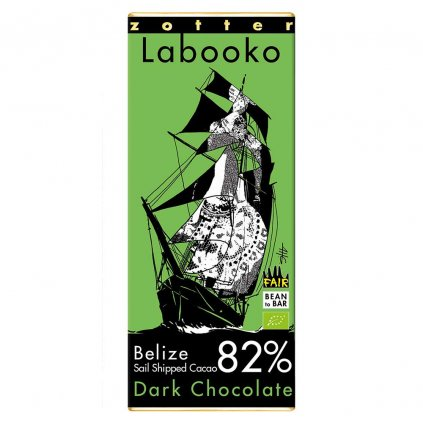 Fair trade bio hořká čokoláda Zotter Labooko Belize 82 % Sail Shipped