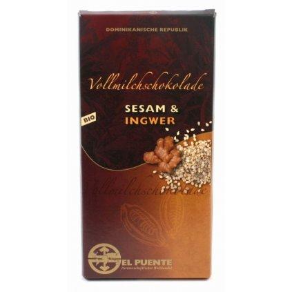 Fair Trade bio mléčná čokoláda se sezamem a zázvorem
