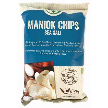 Fair Trade bio maniokové chipsy s mořskou solí, 100 g