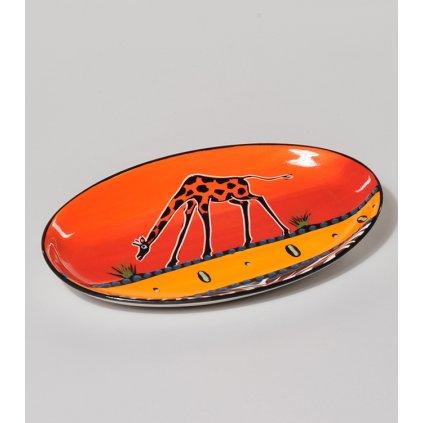 Fair Trade oválná miska s žirafou z Jižní Afriky, keramika