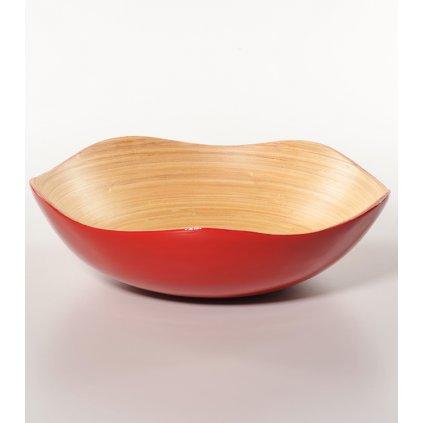 Červená Fair Trade bambusová miska ve tvaru květu