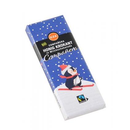Fair trade bio mléčná medová čokoláda Tučňák