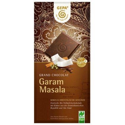Fair Trade Bio mléčná čokoláda Garam Masala, 100 g