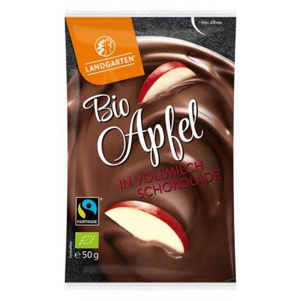 Fairtrade bio jablka v mléčné čokoládě, 50 g