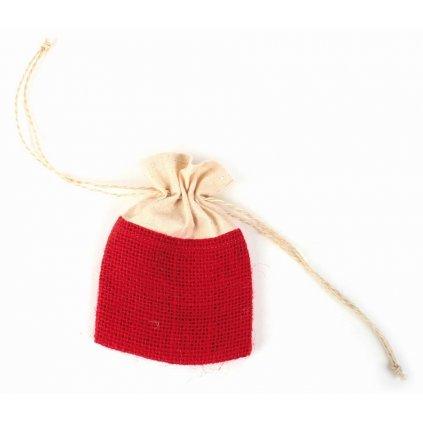 Červený Fair Trade ručně šitý jutový sáček se šňůrkou