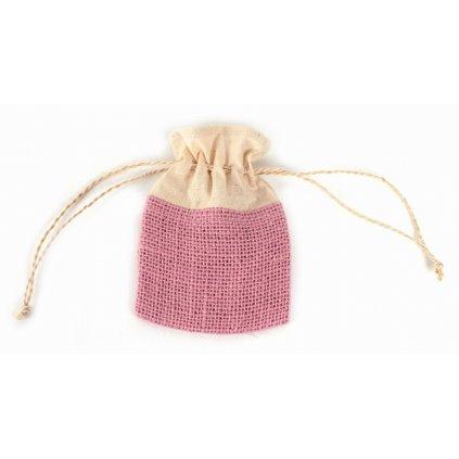 Růžový Fair Trade ručně šitý jutový sáček se šňůrkou