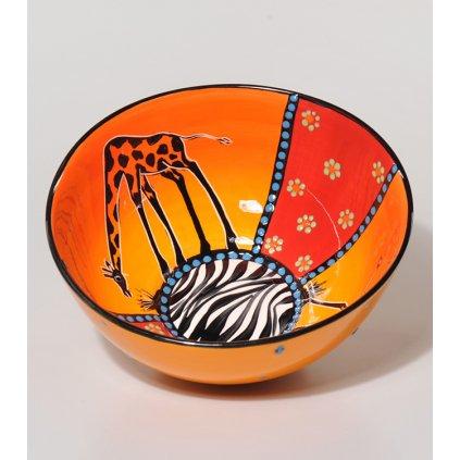 Fair Trade ručně dělaná mísa s žirafou z Jižní Afriky, 22 cm