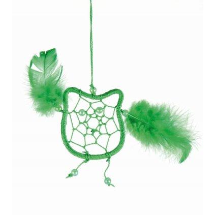 Fair Trade lapač snů Sova z Bali, zelená, 17,5 cm