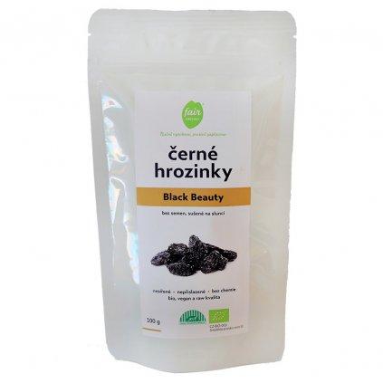 Fair trade bio černé hrozinky Black Beauty, sušené na slunci, 100 g
