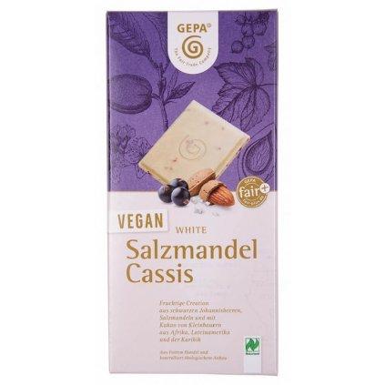 Fair trade bio veganská bílá čokoláda se slanými mandlemi