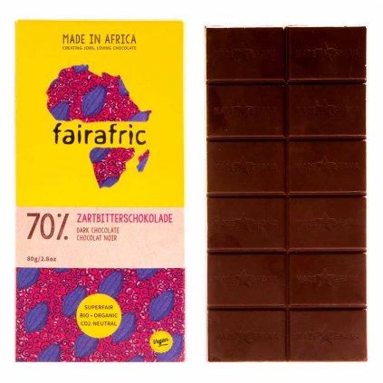 Fair trade hořká čokoláda se 70 % kakaa, vyrobená fairafric v Ghaně