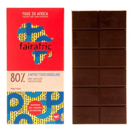 Fair trade bio hořká čokoláda s 80 % kakaa, vyrobená v Ghaně, 80 g