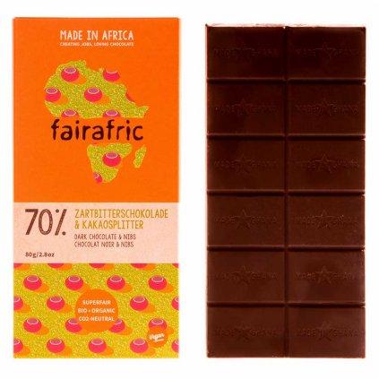 Fair trade bio hořká čokoláda Fairafric se 70 % kakaa s kousky kakaových bobů z Ghany