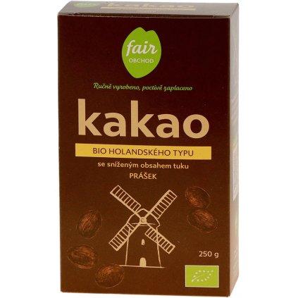 Fair trade bio kakaový prášek holandského typu, snížený obsah tuku, 250 g