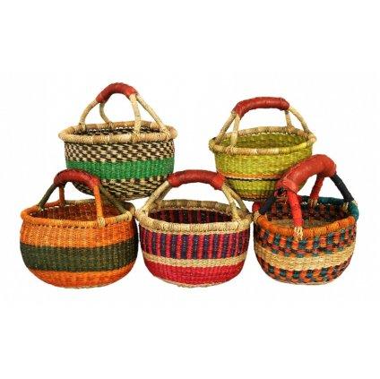 Fair trade košík Bolga z Ghany, různé barvy