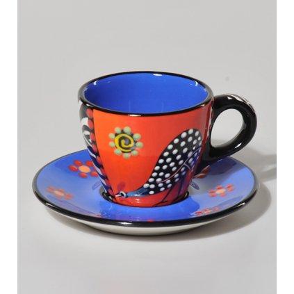 Espresso šálek s perličkou a podšálek, modrý, 80 ml
