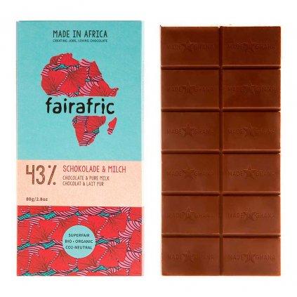 Fair trade bio mléčná čokoláda Fairafric se 43 % kakaa, vyrobená v Ghaně, 80 g