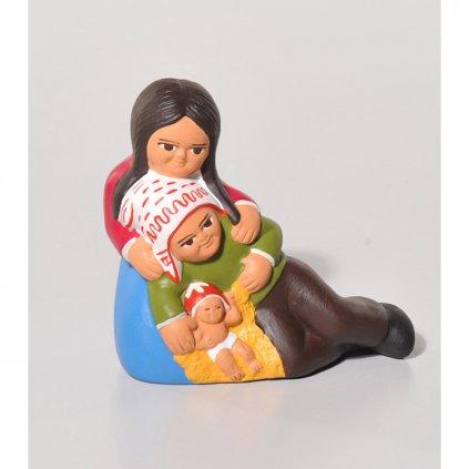 Fair trade odpočívající rodina z keramiky z Peru, betlém