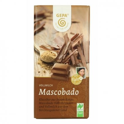 Fair trade bio mléčná čokoláda s cukrem Muscovado, 100 g