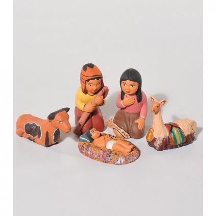 Fair trade keramický betlém z Peru, 5 postav