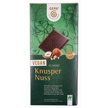 Fair trade bio veganská mléčná čokoláda s lískovými oříšky