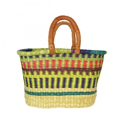 Fair trade oválný bolga koš ze stepní trávy z Ghany, 44 48 cm