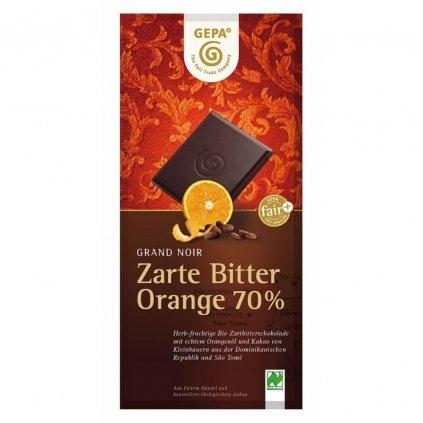 Fair trade bio hořká čokoláda Gepa 70 % kakaa s pomerančový olej