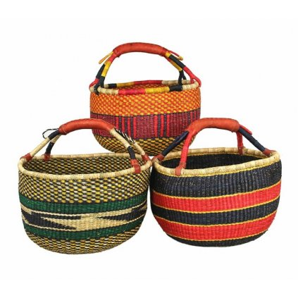 Fair trade ručně pletené bolga koše z Ghany