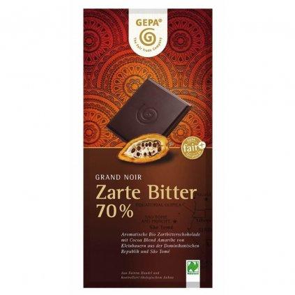 Fair trade bio hořká čokoláda Gepa se 70 % kakaa Amaribe