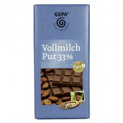Fair trade mléčná čokoláda Gepa s 33 % kakaa z Kamerunu