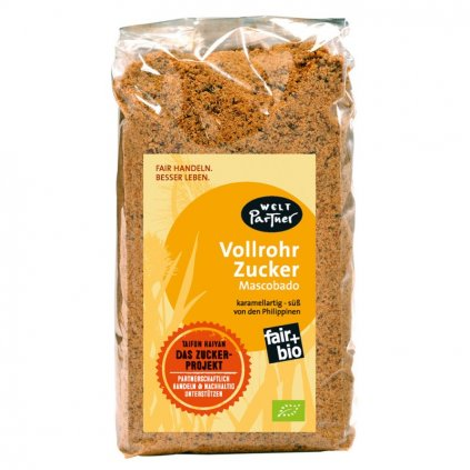 Fair trade bio nekrystalizovaný třtinový cukr Muscovado z Filipín, 500 g