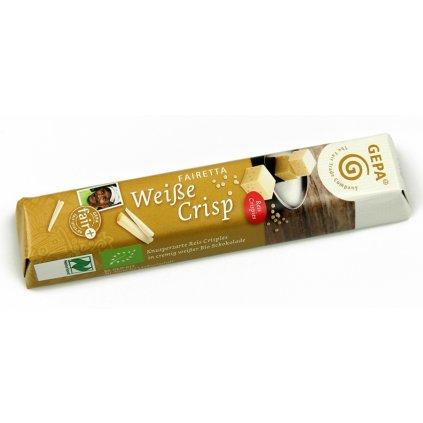 Fair Trade Bio bílá čokoládová tyčinka s rýžovými křupinkami