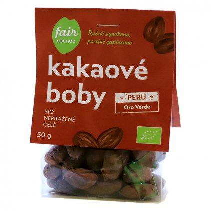 Fair trade bio nepražené kakaové boby celé Peru Oro Verde, 50 g