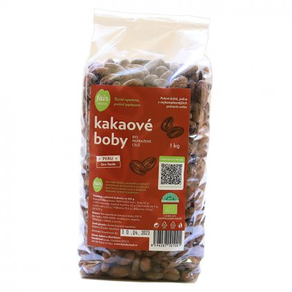 Fair trade bio nepražené kakaové boby celé Peru Oro Verde, 1000 g