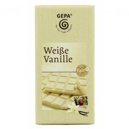 Fair trade bílá čokoláda s bourbonskou vanilkou Gepa