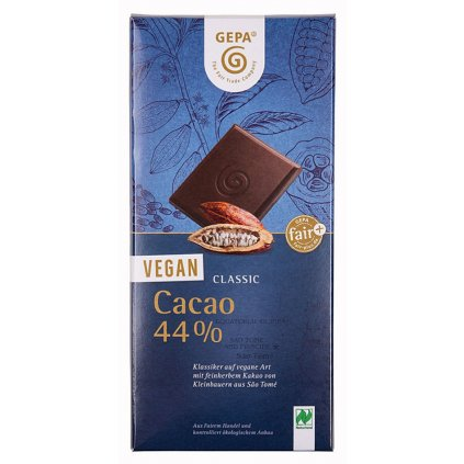 Fair trade bio veganská mléčná čokoláda se 44 % kakaa